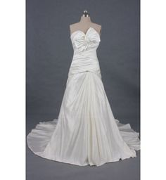 Sweetheart Neck Ruffles and Huge Bowknot Design Court Train Wedding Dress For Bride