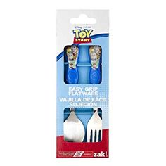 Disney Toy Story Easy Grip Toddler Fork and Spoon Flatware Set: Toy Story Spoon and Fork Set Features Andy and Buzz Lightyear. Easy Grip handles makes it easy for toddlers to grab. Makes mealtime fun! Produced by Zak. Flatware Storage, Flatware Set, Disney Toys, Baby Disney, Thing 1, Buy Toys, Forks And Spoons, Kids House, Gift Boxes