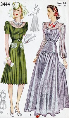 1940's Misses Evening Dress Or Afternoon Dress, Vintage Sewing Pattern, Simplicity 3444