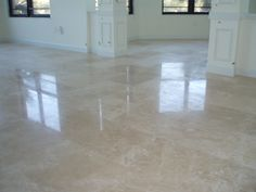 Polished Travertine floor tile.