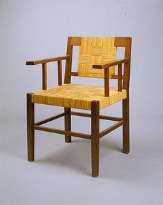 Francis Jourdain; Mahogany and Split Cane Armchair, c1914.