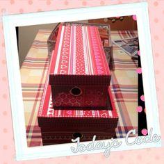 Caja con papel decoupatch y washi tape