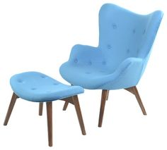 Love this chair with stool! Looks comfortable as well as stylish.