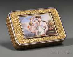 Continental Gold Enameled Snuff Box, likely France, 19th century