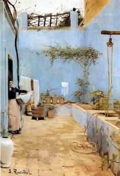 Santiago Rusiñol - Patio azul