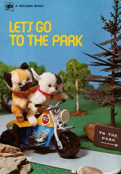 let's go to the park, vintage 1970s children's book photographed by gerry swart, published by golden press.