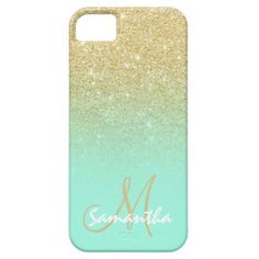 Modern gold ombre mint green block personalized iPhone case - tap to personalize and get yours