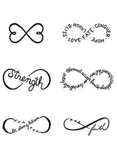 I like the idea of an infinity tattoo made up of words and maybe paired with an image or hiding the infinity symbol somewhere within an image