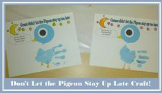 teachingheart: to go with Mo Willems book, Don't Let the Pigeon Stay Up Late Then just mix blue and white paint. Kids paint their hands and then use their handprint to make the body of the pigeon. Have them color the stars, beak, and add legs. Abc Activities, Kindergarten Activities, Preschool Crafts, Pigeon Books, February Baby, Kindergarten Art Projects, Mo Willems, Staying Up Late, Author Studies