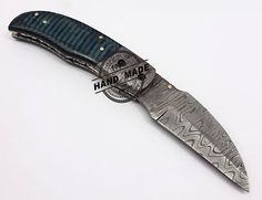Damascus Liner Lock Knife Custom Handmade Damascus Steel Hunting Knife New Damascus Folding Knife With Micatra Handle Leather Sheaths 1334