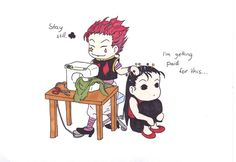 Hisoka and Illumi sewing by Questsand on deviantART