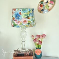 How to paint an artist's palette-inspired floral lampshade… (Jennifer Rizzo) Floral Lampshade, Fabric Lampshade, Painted Lampshade, Cover Lampshade, Fabric Chandelier, Lampshade Ideas, Lampshade Designs, Jar Chandelier, Diy Lamps