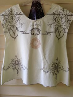 Upcycle top Made from tablecloth.