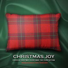 "CHRISTMAS JOY... ""Classical christmas colors make this plaid pattern""... #christmas, #xmas, #christmassy, #holidays, #santa, #december, #winter, #plaid, #tartan, #decorative, #accent #pillow #cushion #decorativepillow #outdoorpillow #accentpillow #zazzle #zazzler #zazzleshop #digitalartcreations"