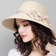 Unique bow straw sun hats for ladies uv protection effect hats 4f08542d661c