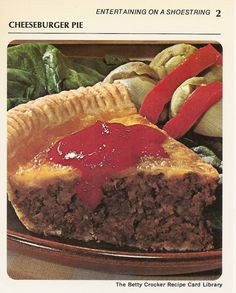 cheeseburger pie entertaining on a shoestring vintage recipe card the betty crocker library