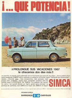 Simca our first family car Classic Motors, Classic Cars, Vintage Advertisements, Vintage Ads, Old Posters, Automobile, Car Brochure, Ad Car, Hot Rods