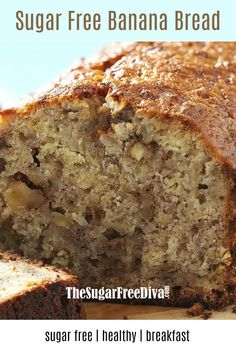 This recipe for Sugar Free Banana Bread is really delicious. - - This recipe for Sugar Free Banana Bread is really delicious. Recipe For Sugar Free Banana Bread, Banana Bread Without Sugar, Sugar Free Baking, Sugar Free Sweets, Healthy Banana Bread, Sugar Free Recipes, Banana Bread Recipes, Healthy Cake, Healthy Sugar