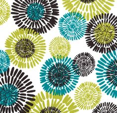 """""""Cote D Azure, Lagoon""""  44"""" wide100% Combed Cotton   A beautiful, floral in a block print/global look by Michael Miller.  The colors are teal and chartreuse green with espresso brown and white. Pattern repeat is 23"""" vertical x 35"""" horizontal. Largest flower """"burst"""" is 6"""" in diameter.  Great for any home decor accessories, apparel, bedding, curtains, quilting and more. Weighs 150 grams per yard or 5.25 oz."""