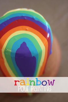 Rainbow Pour Painting {on terra cotta pots} www.dillydaliart.com