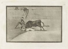 Francisco Goya, Spanish, 1746–1828, La desgraciada muerte de Pepe Illo en la plaza de Madrid (The Unlucky Death of Pepe Illo in the Ring at Madrid), from the series La tauromaquia 1816 Etching, burnished aquatint, drypoint and burin plate: 24.5 x 35 cm (9 5/8 x 13 3/4 in.); sheet: 31.5 x 44 cm (12 3/8 x 17 5/16 in.) The Arthur Ross Collection 2012.159.38.33. Photo credit: Yale University Art Gallery.