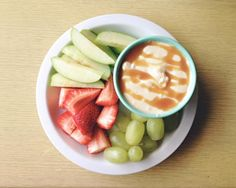 The best caramel fruit dip you will ever eat. From Hearth Magazine