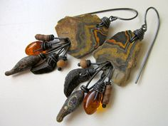 Signs and Wonders - primitive assemblage rusty orange crazy lace agate stone, lampwork glass drop, amber, fossil, myrrh & ox copper earrings by LoveRoot