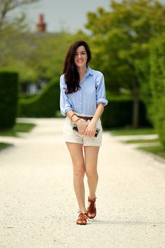 Lace Shorts: Madewell. // Sandals: Madewell. // Oxford: (old) similar. // Clutch: J. Crew. // Belt: J. Crew (similar).  Bracelets: Eight Knot: Kiel James Patrick.  // Gold Bangles:  J. Crew.
