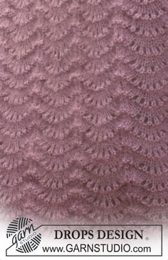 "Set comprises: Knitted DROPS hat and shawl with wavy pattern in ""Kid-Silk"" and ""Alpaca"". Baby Knitting Patterns, Lace Knitting, Knitting Stitches, Stitch Patterns, Drops Design, Drops Patterns, Seed Stitch, Pattern Library, Knit Patterns"