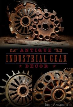 Antique Industrial Gear Decor from Iron Anarchy.