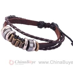 Fashion Jewelry: Vintage Alloy Metal Leather Bracelet For Men And W...