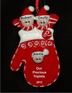Cozy Mitten with Triplets Baby Ornament Personalized