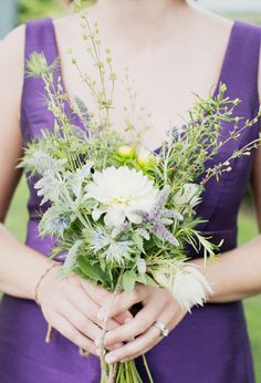 Simple garden bridesmaid bouquet with dahlias and flowering mint, nice small size for a budget.