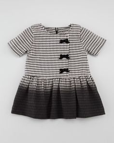 Ombre Houndstooth Dress, Black/White, Sizes  by Lili Gaufrette at Neiman Marcus.