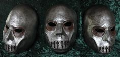 Death Eater Mask, Harry Potter, Halloween Idea- white mask spray painted silver hung on wall with robe?