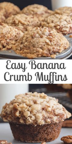 Pecan Banana Crumb Muffins, the easiest and best Banana Muffins with a crunchy yummy Pecan Streusel Topping. Breakfast just got better! Best Banana Muffin Recipe, Ripe Banana Recipe, Simple Muffin Recipe, Banana Bread Recipes, Muffin Recipes, Cake Recipes, Banana Crumble, Banana Crumb Muffins, Banana Walnut Muffins Moist