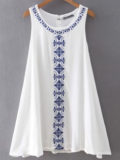 Shop White Sleeveless Embroidered Loose Dress online SheIn offers White Sleeveless Embroidered Loose Dress more to fit your fashionable needs Stylish Dresses For Girls, Stylish Dress Designs, Simple Dresses, Casual Dresses, Short Dresses, Fashion Dresses, Summer Dresses, Kurti Designs Party Wear, Kurta Designs