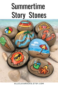 These bright summer story stones are fun to handle during summer vacation! #summerstorystones #beachrocks #beachimages #storystones Story Stones, Rock Painting Designs, Paint Designs, Rock Painting Kids, Pebble Painting, Pebble Art, Stone Art Painting, Pebble Mosaic, Painting Canvas