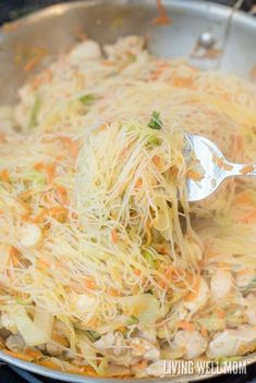 One-Pot Pancit is a quick and easy rice noodle dinner the whole family will love. With chicken, shrimp, and vegetables, this delicious recipe is gluten-free and kid-approved too! Shrimp Rice Noodles, Rice Noodle Soups, Shrimp And Rice, Easy Rice Noodle Recipes, Chicken With Rice Noodles, Chinese Rice Noodles, Asian Recipes, Healthy Recipes, Easy Filipino Recipes