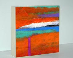 Abstract Art Print On Wood With Orange, Turquoise and Blue Design, 6x6, 8x8 or 10x10