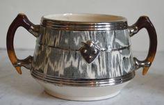 Circa 1934 Faux Bois Black English Transferware Open Sugar Bowl Silver