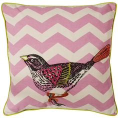 Chevron Bird Cushion found on Polyvore