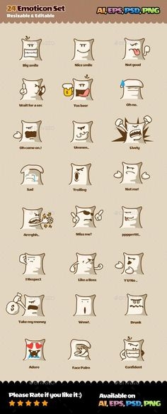 24 Emoticons Set #characters