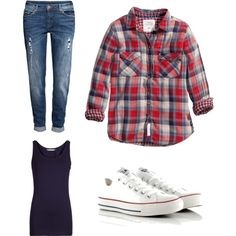 ES Checked shirt, boyfriend jeans and converse casual