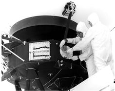 The golden record being attached to Voyager 1 - Imgur via @josepheidson