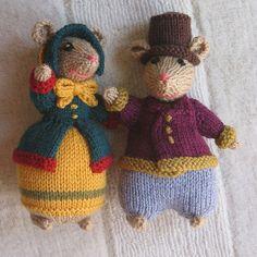 Dickensian mice, knitting pattern by Alan Dart ||| mouse, DIY, plush