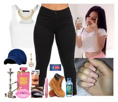 """Livee , After School Vibes"" by saucinonyou999 ❤ liked on Polyvore featuring MANGO, Timberland and House of Harlow 1960"