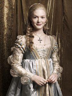 Lucrezia Borgia. Colour, fabrics, detail on bodice and sleeves.  The Borgias, costume design,