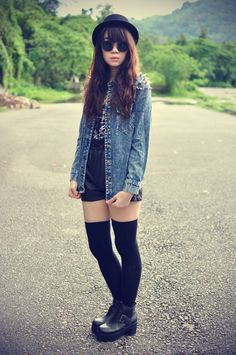 Black thigh high socks and denim jacket