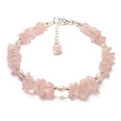8b72d051e3f3 Rose Quartz Pearl gemstone Sterling silver bracelet - pink gemstone chips
